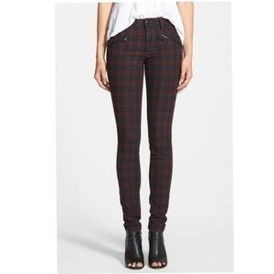 Joe's Jeans Plaid Zip Skinny Jeans
